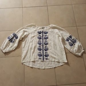 NWT White Cotton Peasant Navy Embroidery L/XL